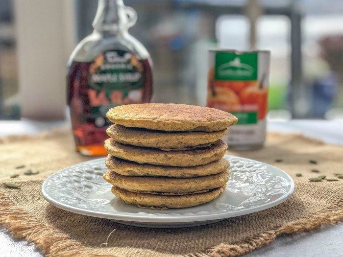 An image of a stack of sourdough pumpkin pancakes.