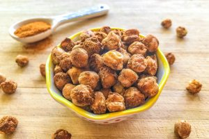 An image of a bowl of smoky garlic baked chickpeas.