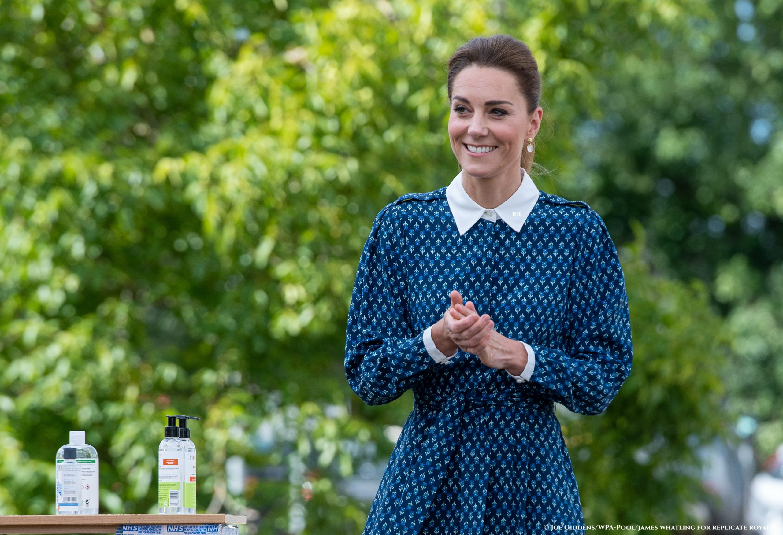 Blue Beulah midi dress for The  Duchess of Cambridge at NHS tea party