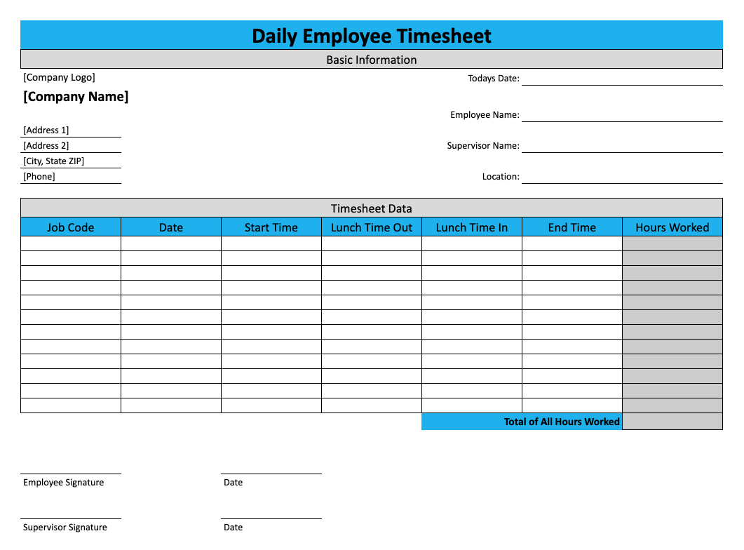 Daily Timesheet Template For Free Download