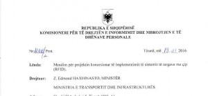 Faksimile e Opinionit të Komisionerit të Drejtës së Informmimit dhe Mbrojtjen e të Dhënave Personale, Besnik Dervishi, mbi koncesionin e pakërkuar të Porta Saber