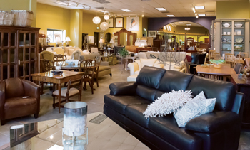 The extensive showroom is designed to include pieces in grouped vignettes to give customers ideas for their own spaces.