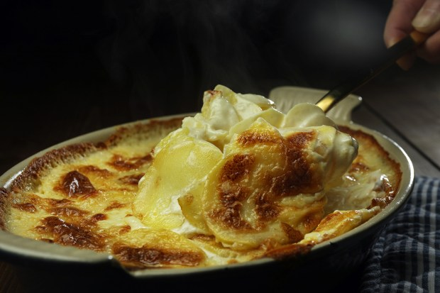 The ingredients for pommes dauphinoise come together on April 16, 2019. (Terrence Antonio James/Chicago Tribune/TNS)
