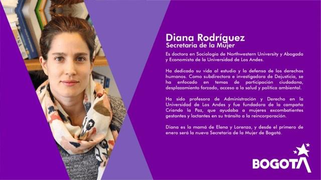 Resultado de imagen para Secretaría de la Mujer es Diana Rodríguez,