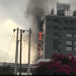 Unity Bank Building on fire