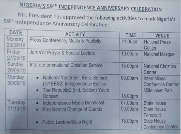 Timetable For 59th Independence Anniversary Celebration