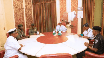 Monguno Conspicuously Absent As Buhari Meets Service Chiefs
