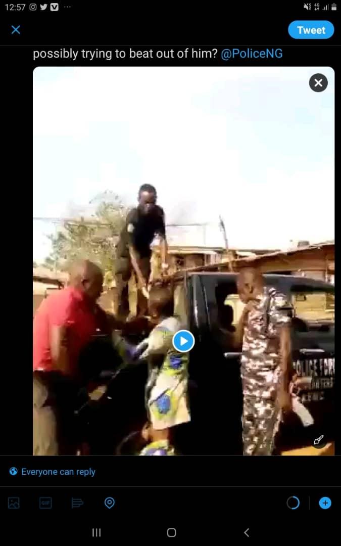 Watch As Nigerian Policemen Dehumanise A Civilian, Another Grabs His Genitals