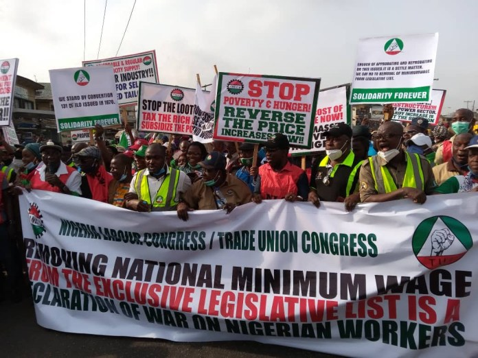 NLC And TUC members embark on nationwide protest (photos); Lagos, Abuja, Benue in Pictures