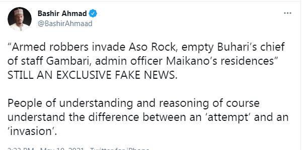 BREAKING: Buhari Aide Bashir Confirms Attack On Aso Rock