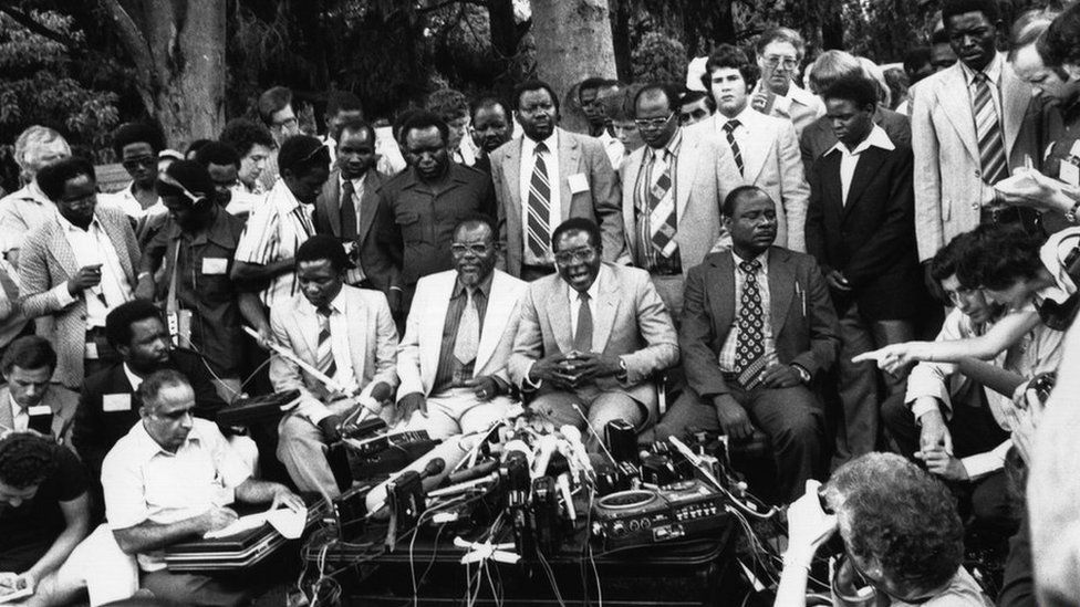 Zimbabwe African National Union (Zanu) leader Robert Mugabe was elected prime minister after the end of white minority rule in the former British colony of Rhodesia (later Zimbabwe).