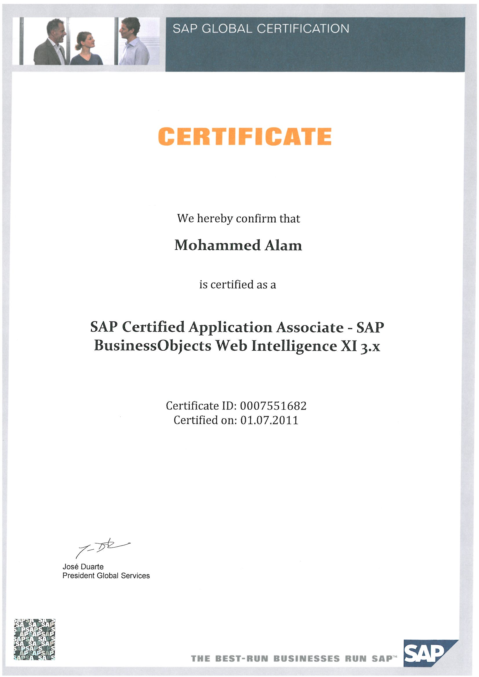 sap business objects resume