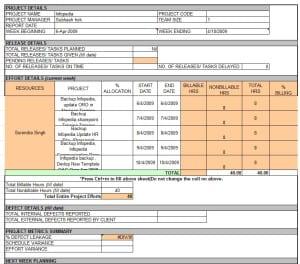 status report template excel