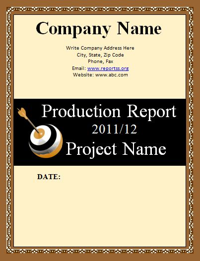 Production Report Template | Download It Free