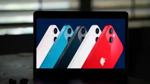 La Habra : Seen on the screen of a device in La Habra, Calif., new iPhone 13 smartphones are introduced during a virtual event held to announce new Apple products (AP)
