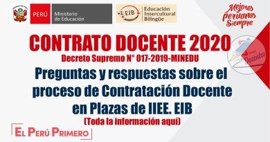 MINEDU: Preguntas y Respuestas sobre el proceso de Contratación Docente en Plazas de Instituciones Educativas EIB, www.minedu.gob.pe