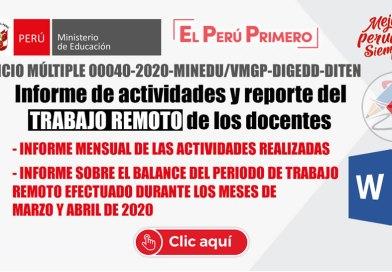 FORMATOS: Informe de actividades y reporte del TRABAJO REMOTO de los docentes [WORD][O.M. N° 00040-2020-MINEDU/VMGP-DIGEDD-DITEN]