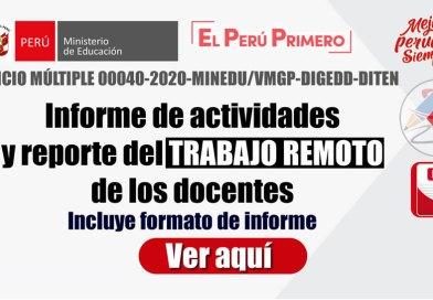 Informe de actividades y reporte del TRABAJO REMOTO de los docentes [OFICIO MÚLTIPLE 00040-2020-MINEDU/VMGP-DIGEDD-DITEN]