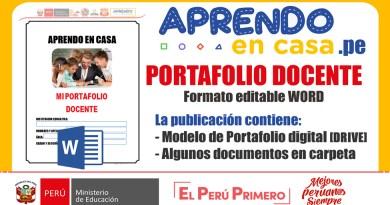 PORTAFOLIO DOCENTE en Aprendo en Casa [Word]