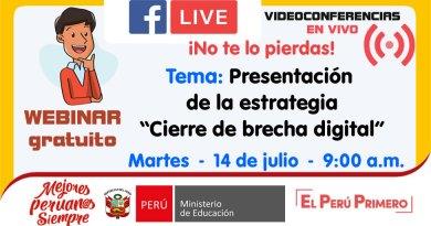 Conferencia Virtual: Presentación de la estrategia «Cierre de brecha digital», Martes 14 de julio de 2020 – 9:00 a.m.