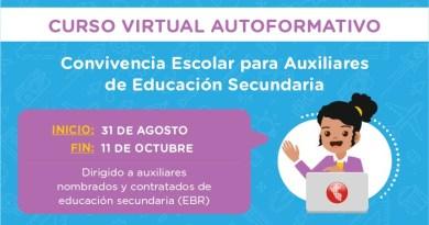 Curso virtual para los auxiliares del nivel secundaria de Educación Básica Regular, preinscríbete al curso hasta el 19 de agosto