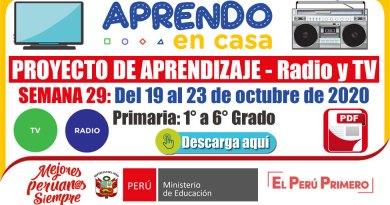 PROYECTO DE APRENDIZAJE TV y RADIO – SEMANA 29: Del 19 al 23 de octubre de 2020 [Primaria – 1° a 6° Grado][APRENDO EN CASA][Referencial]