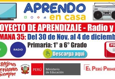 PROYECTO DE APRENDIZAJE TV y RADIO – SEMANA 35: Del 30 de noviembre al 4 de diciembre de 2020 [Primaria – 1° a 6° Grado][APRENDO EN CASA][Referencial]