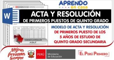 Modelo de ACTA Y RESOLUCIÓN de PRIMEROS PUESTOS de QUINTO GRADO Secundaria [WORD]