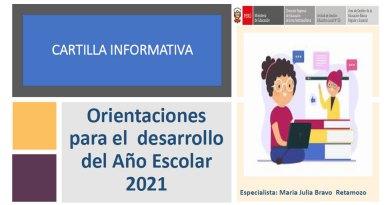CARTILLA INFORMATIVA: Orientaciones para el desarrollo del Año Escolar 2021, RVM N° 273-2020-MINEDU