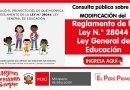 Consulta pública sobre la MODIFICACIÓN del Reglamento de la Ley N° 28044, Ley General de Educación [Accede aquí para aportar]