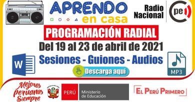 PROGRAMACIÓN RADIAL: del 19 al 23 de abril de abril de 2021 [Guiones y Audios]