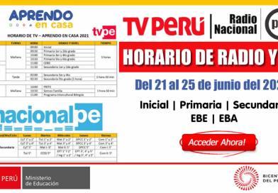 Horario de la Programación de Radio y TV [Del 21 al 25 de junio de 2021][Inicial – Primaria – Secundaria – EBE – EBA]