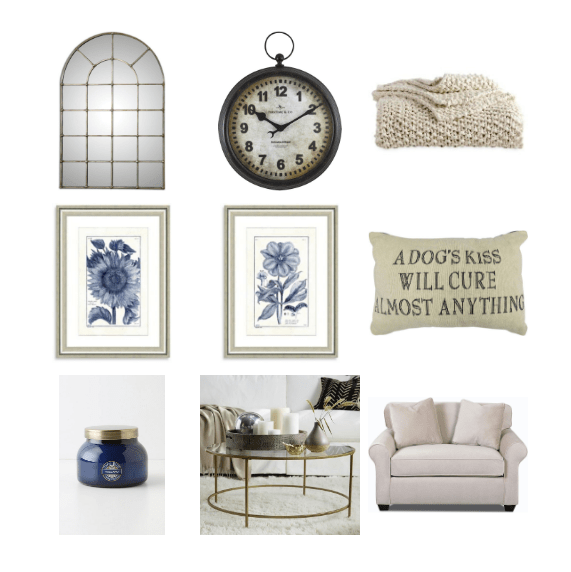 White and Blue French Country Living Room Inspiration