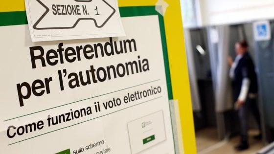 Referendum autonomia, affluenza alle 12: in Lombardia al 10%, il doppio in Veneto