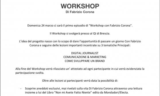 """Una giornata con Fabrizio Corona a Brescia: 280 euro per scoprire """"il segreto del suo successo"""""""