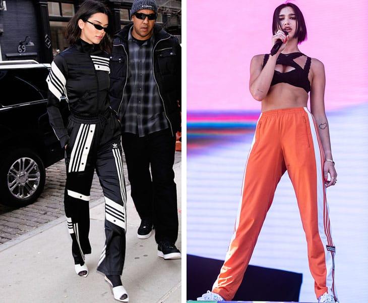 A sinistra Kendall Jenner in Adidas, a destra Dua Lipa