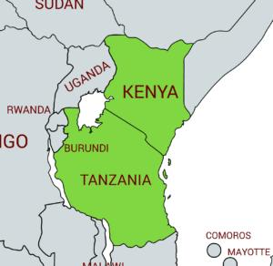 Jackson's chameleon native range - Kenya and Tanzania