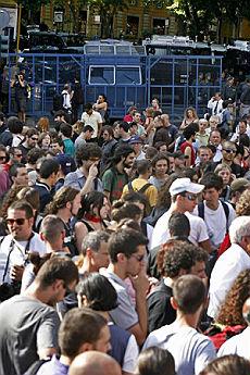 La protesta in piazza Barberini a Roma