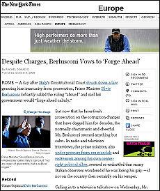 """NYT: """"Mercoledì un bel giorno per la democrazia italiana"""""""