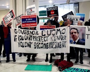 Cuomo, at DNC, Can't Escape Calls From New Yorkers to Bar Hazardous Gas Fracking
