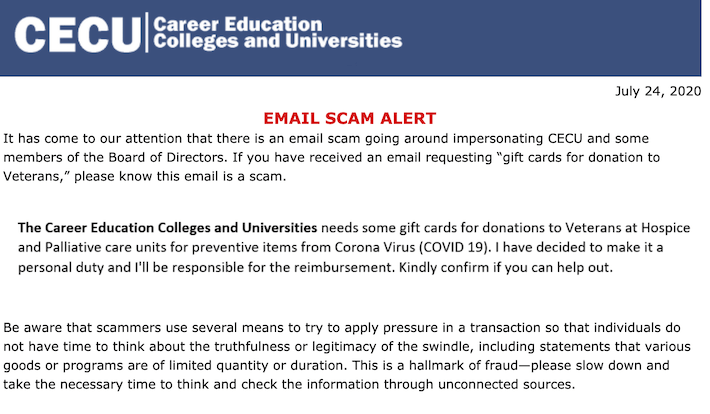 For-Profit College Group Warns Members They Are Being Targeted By High-Pressure Scam