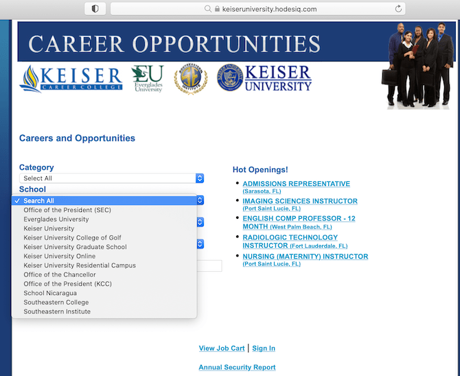 Non-Profit Keiser University Touts Jobs at For-Profit School Owned by Keiser Family