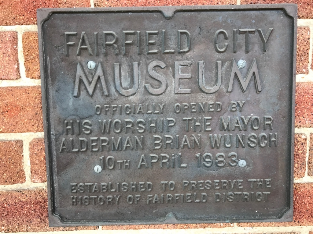 Fairfield City Museum 1983 Plaque showing the museum mission of preserving the history of the City