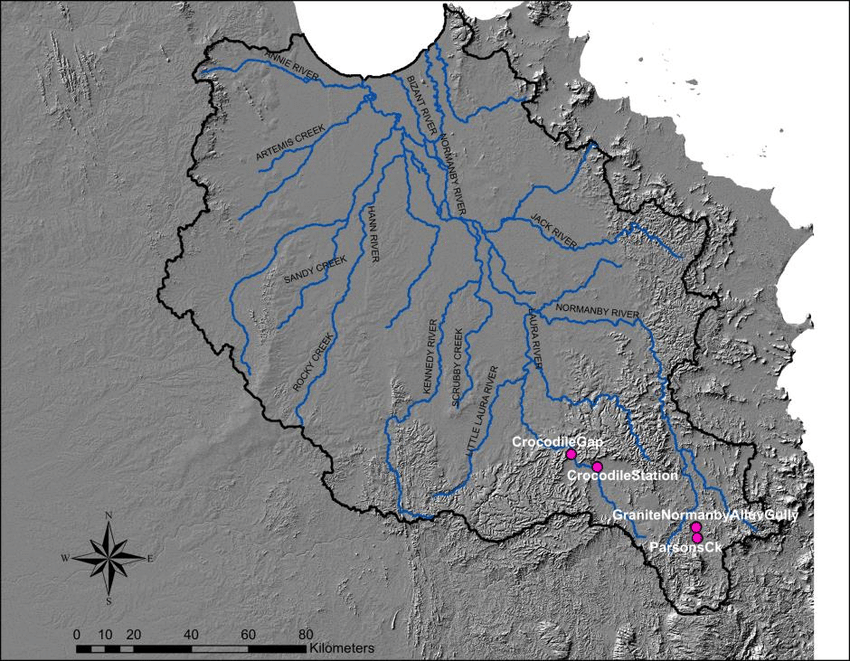 Map of the Normanby catchment showing the locations of the sampled     Map of the Normanby catchment showing the locations of the sampled gullies  in the upper Laura