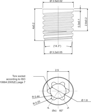 Technical drawing of a PEEK implant Abbreviations: ISO, International | Download Scientific