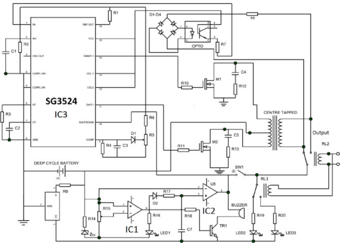 complete circuit diagram of the 12v 15kva inverter circuit