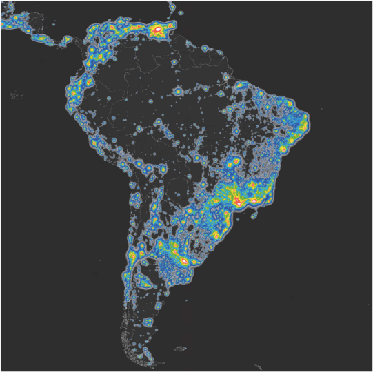 Map of South America s artificial sky brightness  in twofold     Map of South America s artificial sky brightness  in twofold increasing  steps  as a ratio