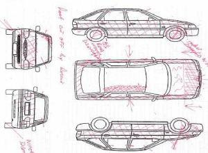 Sketch of the damage to the case vehicle of 00581AVA