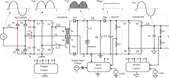shows a detailed circuit diagram of the ups reported in 6