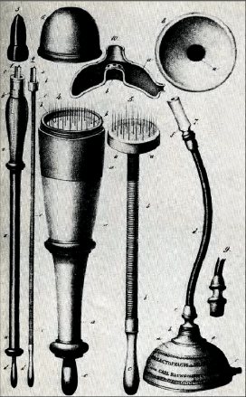 Some of Baunscheidt's inventions: the artificial leech (left), the Lebenswecker (center) and the breast pump (right). 70